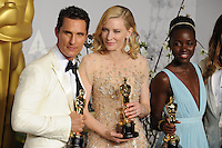 Matthew McConaughey &amp; Cate Blanchett &amp; Lupita Nyong&rsquo;o at the 86th Annual Academy Awards at the Dolby Theatre, Hollywood.<br /> March 2, 2014  Los Angeles, CA<br /> Picture: Paul Smith / Featureflash