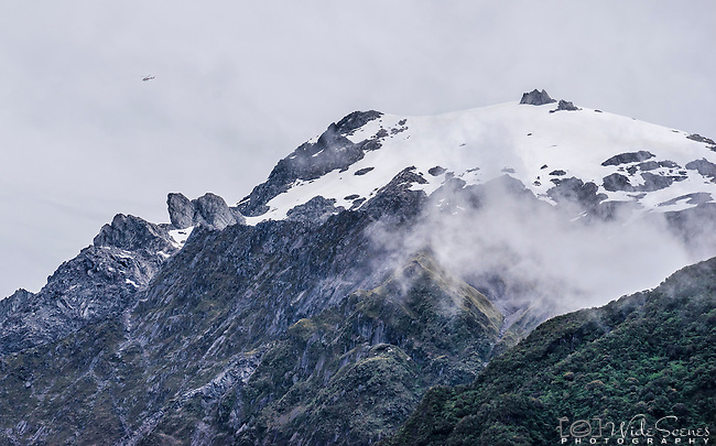 View from the Glacier Valley walk of the glaciers at Franz Joseph New Zealand