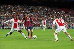 UEFA Champions League 2013/2014.<br /> FC Barcelona vs AFC Ajax: 4-0 - Game: 1.<br /> Denswil, Messi &amp; Moisander.