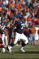 19 November 2005: Branden Albert (71)..The Virginia Tech Hokies defeated the Virginia Cavaliers 52-14 for the Commonwealth Cup at Scott Stadium in Charlottesville, VA.