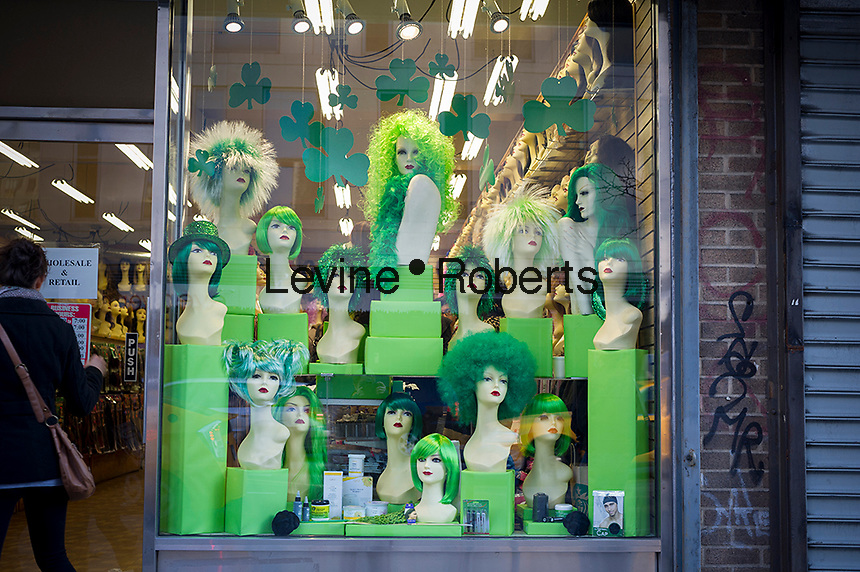 A novelty store in New York displays their selection of St. Patrick's Day wigs, seen on Saturday, March 9, 2013. (© Frances M. Roberts)