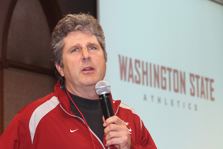 "Mike Leach, Washington State football coach, speaks to the crowd at WSU's ""South Sound Night with Cougar Athletics"" at Saint Martin's University in Lacey, Washington, on April 26, 2012."