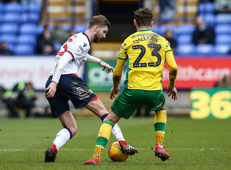 Bolton Wanderers' Luke Murphy competing with Norwich City's Kenny McLean  <br /> <br /> Photographer Andrew Kearns/CameraSport<br /> <br /> The EFL Sky Bet Championship - Bolton Wanderers v Norwich City - Saturday 16th February 2019 - University of Bolton Stadium - Bolton<br /> <br /> World Copyright © 2019 CameraSport. All rights reserved. 43 Linden Ave. Countesthorpe. Leicester. England. LE8 5PG - Tel: +44 (0) 116 277 4147 - admin@camerasport.com - www.camerasport.com