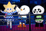 "Tokyo, Japan - (L to R) Tokyo Sky Tree mascot Sorakara-chan, Sports Festival Tokyo 2013 Yurito and Ueno Panda-kun at the opening ceremony of Tokyo Hotaru Festival, May 26, 2013. Every year at the Tokyo Hotaru ""Symphony of Light"" (Hikari no Symphony) thousands of lights ""payer stars"" (inori no hoshi) are thrown along to the river. This year in collaboration with Tokyo Sky Tree the organizers also illuminate the tower to support the Tokyo City as a candidate of Olympic 2020. (Photo by Rodrigo Reyes Marin/AFLO).."