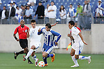 20 March 2008: Luis Alfredo Lopez (HON) (6) dribbles past Manuel Leon (GUA) (12). The Honduras U-23 Men's National Team defeated the Guatemala U-23 Men's National Team 6-5 on penalty kicks after a 0-0 overtime tie at LP Field in Nashville,TN in a semifinal game during the 2008 CONCACAF Men's Olympic Qualifying Tournament. With the penalty kick victory, Honduras qualifies for the 2008 Beijing Olympics.