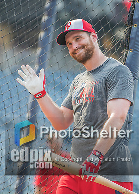 22 July 2016: Washington Nationals infielder Daniel Murphy waves to fans during batting practice prior to a game against the San Diego Padres at Nationals Park in Washington, DC. The Padres defeated the Nationals 5-3 to take the first game of their 3-game, weekend series. Mandatory Credit: Ed Wolfstein Photo *** RAW (NEF) Image File Available ***