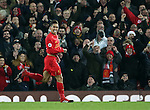 Liverpool's Roberto Firmino celebrates scoring his sides second goal during the Premier League match at Anfield Stadium, Liverpool. Picture date December 27th, 2016 Pic David Klein/Sportimage