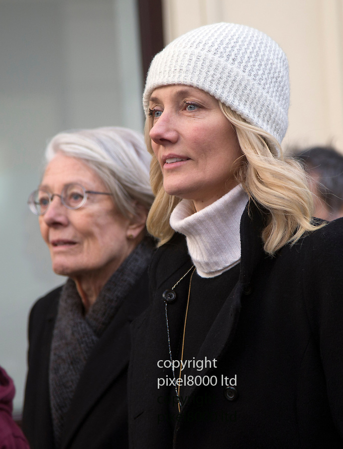 """Pic shows: Vanessa Redgrave - and daughter Joely Richardson<br /> <br /> Funeral of Roger Lloyd-Pack - """"Trigger"""" from Only Fools and Horses.<br /> <br /> Mourners arriving at the service at Actors Church in Covent Garden -<br /> <br /> <br /> <br /> <br /> Pic by Gavin Rodgers/Pixel 8000 Ltd"""