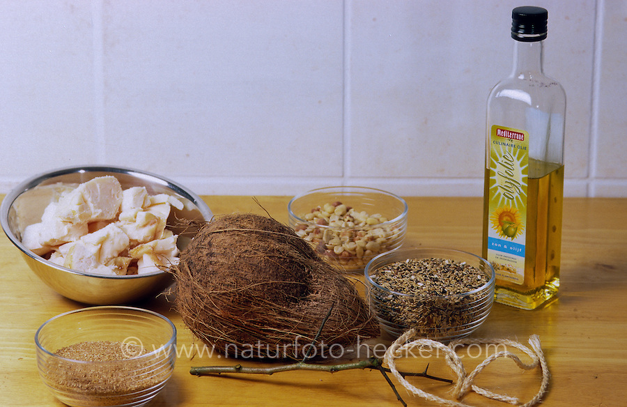Vogelfutter selbermachen, Fettfutter, Fett-Futter, Schritt 1: Zutaten: Pflanzenöl, Rindertalg, Kleie, Körner