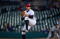 Indianapolis Indians relief pitcher Geoff Hartlieb (39) during an International League game against the Columbus Clippers on April 29, 2019 at Victory Field in Indianapolis, Indiana. Indianapolis defeated Columbus 5-3. (Zachary Lucy/Four Seam Images)