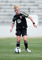 Joanna Lohman (17) of the D.C. United Women brings the ball upfield during the game at the Maryland SoccerPlex in Boyds, Maryland.  The D.C. United Women defeated the Charlotte Lady Eagles, 3-0, to win the W-League Eastern Conference Championship.