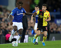 29th October 2019; Goodison Park, Liverpool, Merseyside, England; English Football League Cup, Carabao Cup Football, Everton versus Watford; Moise Kean of Everton shields the ball from Kiko Femenia of Watford - Strictly Editorial Use Only. No use with unauthorized audio, video, data, fixture lists, club/league logos or 'live' services. Online in-match use limited to 120 images, no video emulation. No use in betting, games or single club/league/player publications