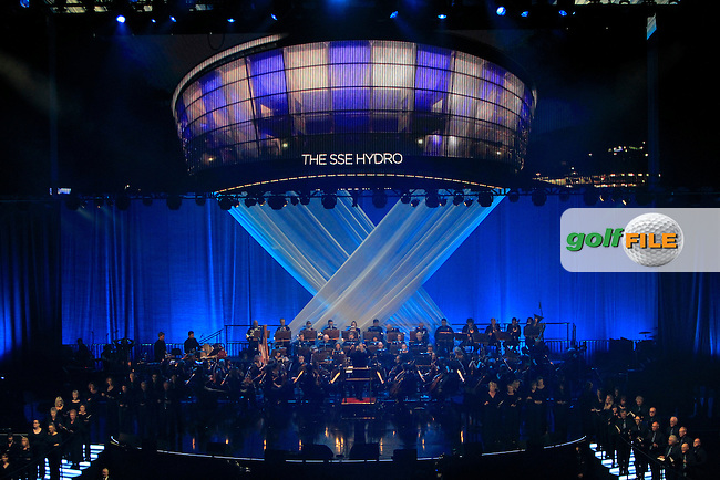 The stage and orchestra during the Ryder Cup Gala Concert 2014 at SSE Hydro on Wednesday 24th September 2014.<br /> Picture:  Thos Caffrey / www.golffile.ie