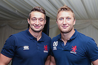 Oli Grove of London Scottish (right) during the Pre match hospitality ahead of the Greene King IPA Championship match between London Scottish Football Club and Nottingham Rugby at Richmond Athletic Ground, Richmond, United Kingdom on 16 October 2015. Photo by David Horn.