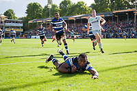 Semesa Rokoduguni of Bath Rugby dives for the Saracens try-line. Aviva Premiership match, between Bath Rugby and Saracens on September 9, 2017 at the Recreation Ground in Bath, England. Photo by: Patrick Khachfe / Onside Images