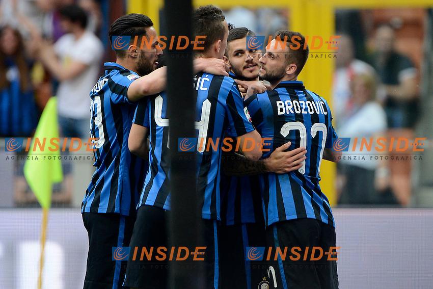 Esutanza gol di Mauro Icardi Inter 1-0. Celebration goal<br /> Milano 7-05-2016 Stadio Giuseppe Meazza - Football Calcio Serie A Inter - Empoli. Foto Giuseppe Celeste / Insidefoto