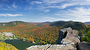 Panoramic of Lake Gloriette in Dixville, New Hampshire USA from Table Rock during the autumn months. The Balsams Grand Resort is in view. This image consists of three images stitched together.
