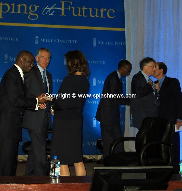 Tony Blair and Bill Gates at Milken Institute Global Conference, held at the Beverly Hilton Hotel.<br /><br />Pictured: Tony Blair and Bill Gates<br />Ref: SPL536178  010513  <br />Picture by: CelebrityVibe / Splash News<br /><br />Splash News and Pictures<br />Los Angeles:310-821-2666<br />New York:212-619-2666<br />London:870-934-2666<br />photodesk@splashnews.com