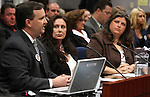 Bridgette Zunino-Denison and Lauren Denison listen as Washoe County District Attorney Elliott Sattler testifies on Wednesday, April 13, 2011, at the Legislature in Carson City, Nev. .Photo by Cathleen Allison