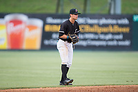 Kannapolis Intimidators shortstop Mitch Roman (10) on defense against the Augusta GreenJackets at Kannapolis Intimidators Stadium on May 3, 2017 in Kannapolis, North Carolina.  The Intimidators defeated the GreenJackets 7-4.  (Brian Westerholt/Four Seam Images)