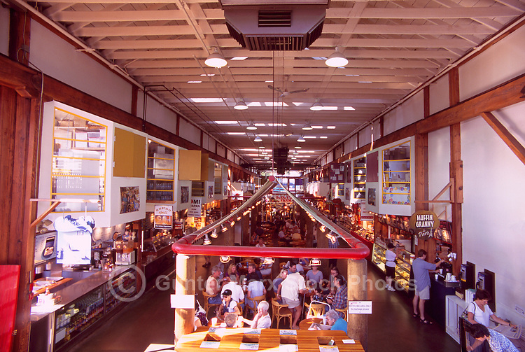 Granville Island Public Market, Vancouver, BC, British Columbia, Canada - Interior View of Eating Area and Food Stalls