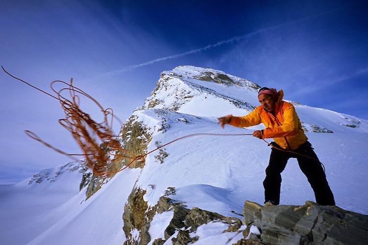 Daniel Chadeyras preparing to rappel down Tsanteleina, Val di Rhêmes, Italy, 2008
