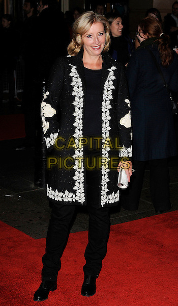 "EMMA THOMPSON .At The Times BFI 53rd London Film Festival Gala Screening of ""An Education"" at the Vue West End, Leicester Square, London, England, UK, October 20th 2009..full length black coat white patterned trim trousers clutch bag leaf leaves .CAP/CAN.©Can Nguyen/Capital Pictures."