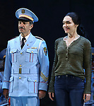 Samson Gabay joins Katrina Lenk with the cast of 'The Band's Visit'  at the Barrymore Theatre on June 27, 2018 in New York City.