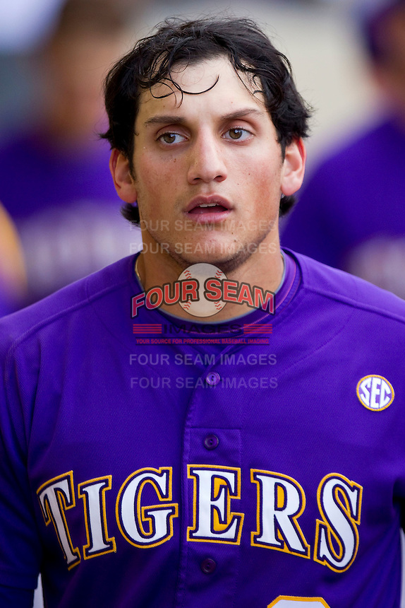 Mikie Mahtook #8 of the LSU Tigers during the game against the Wake Forest Demon Deacons at Alex Box Stadium on February 20, 2011 in Baton Rouge, Louisiana.  The Tigers defeated the Demon Deacons 9-1.  Photo by Brian Westerholt / Four Seam Images