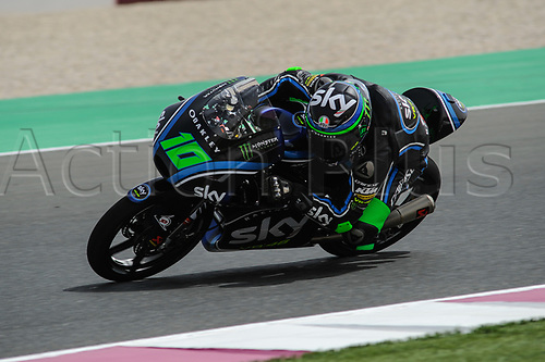 17th March 2018, Losail International Circuit, Lusail, Qatar; Qatar Motorcycle Grand Prix, Saturday qualifying; Dennis Foggia (Sky team VR 46)