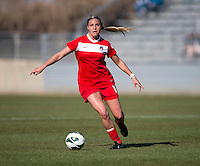 Olivia Wagner (12) of the Washington Spirit brings the ball forward  during the game at the Maryland SportsPlex in Boyds, MD.  The Washington Spirit defeated the North Carolina Tar Heels in a preseason exhibition, 2-0.