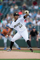 Charlotte Knights starting pitcher Reynaldo Lopez (40) in action against the Durham Bulls at BB&T BallPark on May 16, 2017 in Charlotte, North Carolina.  The Knights defeated the Bulls 5-3. (Brian Westerholt/Four Seam Images)