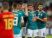 Football International,international friendly, National Team, <br />Germany (GER) - spain  (ESP) 1-1 in Esprit-Arena in Duesseldorf 23. MŠrz  2018<br />Thomas (MUELLER) (GER) 2.v.- clebrates sich   seinem Treffer  1-1 -Ausgleich and seinen Kameraden ab.<br />, Duesseldorf<br /><br /><br /><br /><br /><br /> <br /> *** Local Caption *** © pixathlon<br /> Contact: +49-40-22 63 02 60 , info@pixathlon.de