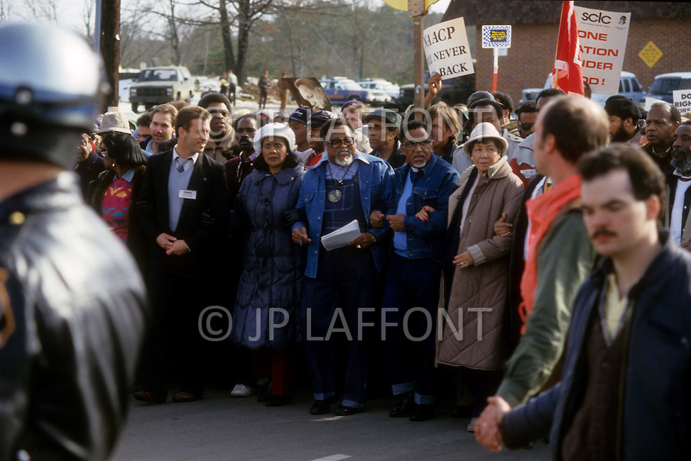 Georgia, Forsyth County, Cumming, 14th, January, 1987. 20,000 people on protest march against racism. From left to right Dean Carter, Coretta King, Hosea Williams, Joseph Lowery and Mrs Lowery.