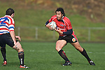 Romi Ropati has Andrew Goodman to contend with as he returns the ball from a kick. Air New Zealand Air NZ Cup warm-up rugby game between the Counties Manukau Steelers & Tasman Mako's, played at Growers Stadium Pukekohe on Sunday July 20th 2008..Counties Manukau won the match 30 - 7.
