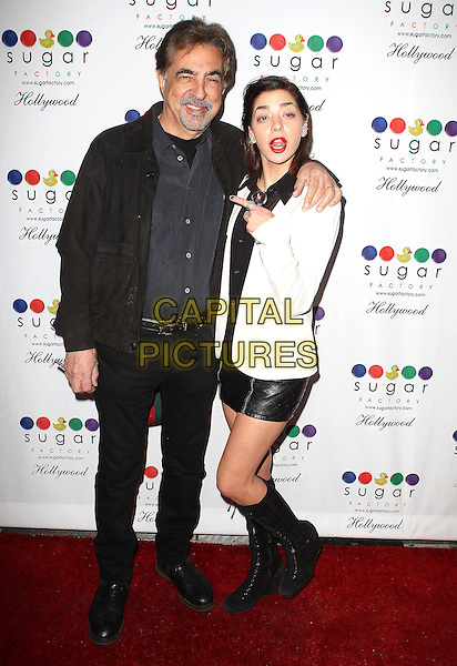 13 November 2013 - Hollywood, California - Joe Mantegna, Gia Mantegna. Sugar Factory Hollywood Grand Opening held at the Sugar Factory Store. <br /> CAP/ADM/KB<br /> &copy;Kevan Brooks/AdMedia/Capital Pictures