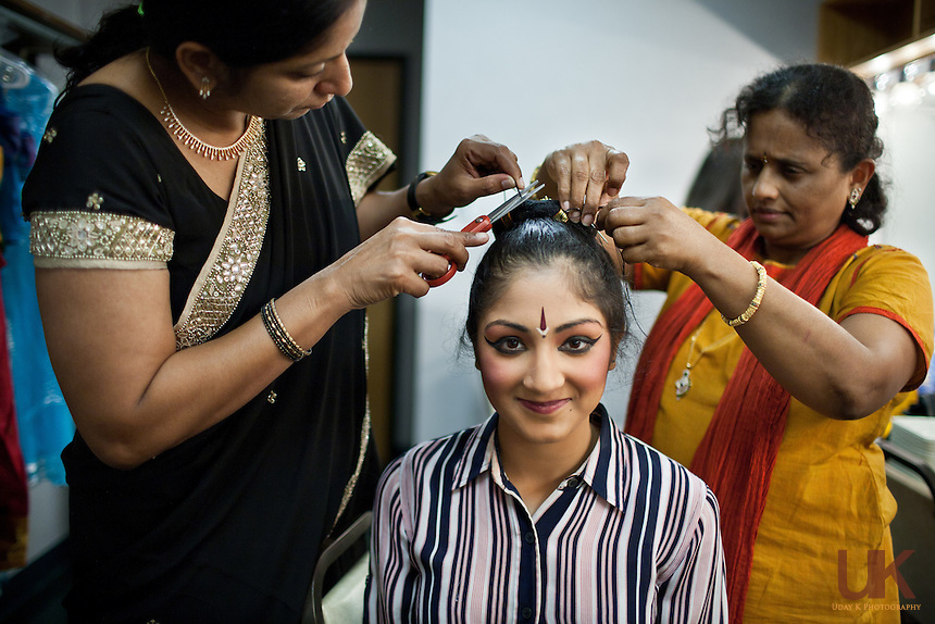 Tanvi Mongia getting ready before her Arangetram at the Granville Arts Center in Garland, TX on Aug. 21st, 2011