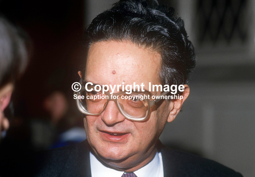 Grigoris Varfis, Greek EEC Commissioner, photographed on visit to N Ireland, February, 1986, 19860204GV1<br />