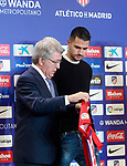 Atletico de Madrid's new player Victor Machin Vitolo (r) with the President Enrique Cerezo during his official presentation. December 31, 2016. (ALTERPHOTOS/Acero)