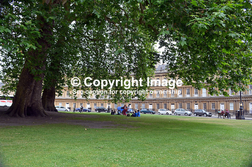 Royal Crescent, Bath, Somerset, UK, parkland, mature trees, July, 2014, 201407073362<br />