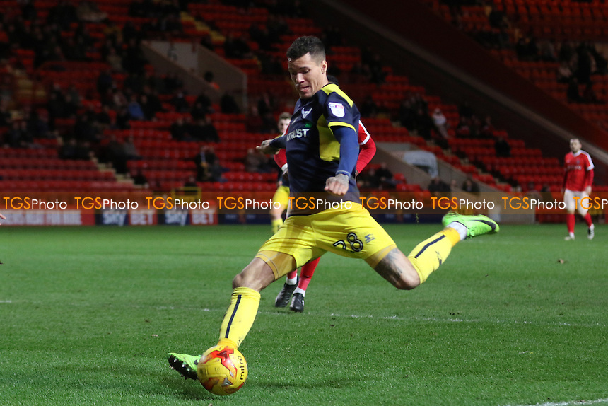 Marvin Johnson of Oxford United takes a shot at the Charlton Athletic goal during Charlton Athletic vs Oxford United, Sky Bet EFL League 1 Football at The Valley on 21st February 2017