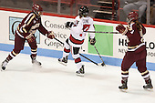 Kaliya Johnson (BC - 6), Kendall Coyne (NU - 77), Taylor Wasylk (BC - 9) - The Northeastern University Huskies defeated Boston College Eagles 4-3 to repeat as Beanpot champions on Tuesday, February 12, 2013, at Matthews Arena in Boston, Massachusetts.