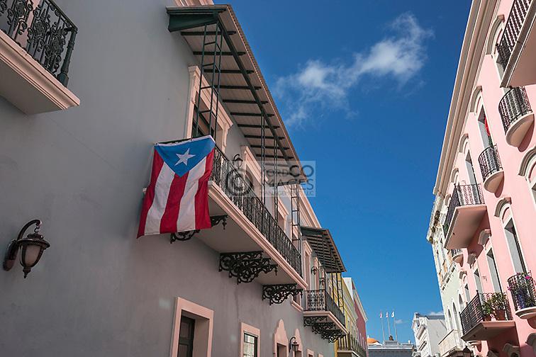 PUERTO RICAN FLAG CALLE FORTELEZA OLD TOWN SAN JUAN PUERTO RICO