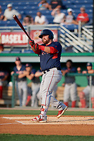 Lowell Spinners Joe Davis (55) bats during a NY-Penn League game against the Batavia Muckdogs on July 10, 2019 at Dwyer Stadium in Batavia, New York.  Batavia defeated Lowell 8-6.  (Mike Janes/Four Seam Images)