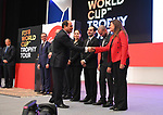 A handout picture released by the Egyptian Presidency on March 15, 2018 shows Egyptian President Abdel Fattah al-Sisi Receives a delegation from the official trophy tours the globe ahead of the 2018 FIFA World Cup tournament in Russia.  Photo by Egyptian President Office