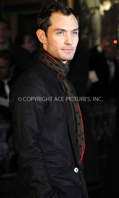 """WWW.ACEPIXS.COM . . . . .  ..... . . . . US SALES ONLY . . . . .....December 14 2009, New York City....Jude Law at the premiere of """"Sherlock Holmes"""" on December 14 2009 in London....Please byline: FAMOUS-ACE PICTURES... . . . .  ....Ace Pictures, Inc:  ..Craig Ashby (212) 243-8787..e-mail: picturedesk@acepixs.com..web: http://www.acepixs.com"""