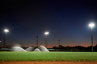 General view of a side fields being watered on March 3, 2018 at North Charlotte Regional Park in Port Charlotte, Florida.  Northeastern defeated Dartmouth 10-8.  (Mike Janes/Four Seam Images)
