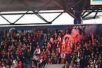 10.04.2019, Schauinsland-Reisen-Arena, Duisburg, GER, 2. FBL, MSV Duisburg vs. 1. FC Koeln,<br />  <br /> DFL regulations prohibit any use of photographs as image sequences and/or quasi-video<br /> <br /> im Bild / picture shows: <br /> Pyrotechnik, Feuerwerk, Rauch, Gefahr, Feuer, Leuchtfeuer, Kurzve    Koeln<br /> <br /> Foto &copy; nordphoto / Meuter