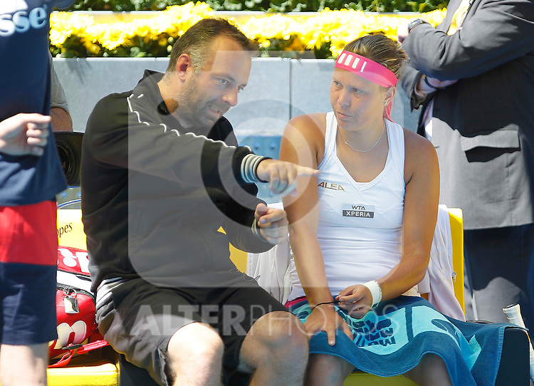 Ekaterina Makarova (r) with her coach Jiri Fencl during Madrid Open Tennis 2012 Match.May, 10, 2012(ALTERPHOTOS/ALFAQUI/Acero)