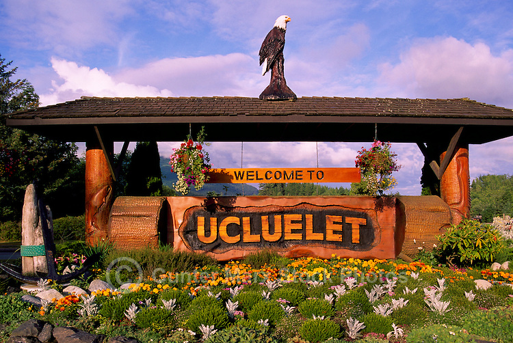 "Carved ""Welcome to Ucluelet"" Sign in Ucluelet, on Vancouver Island, British Columbia, Canada"